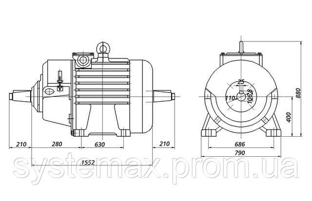 МТН 400 M8 - IM1004 комбинированный (габаритные и установочные размеры)
