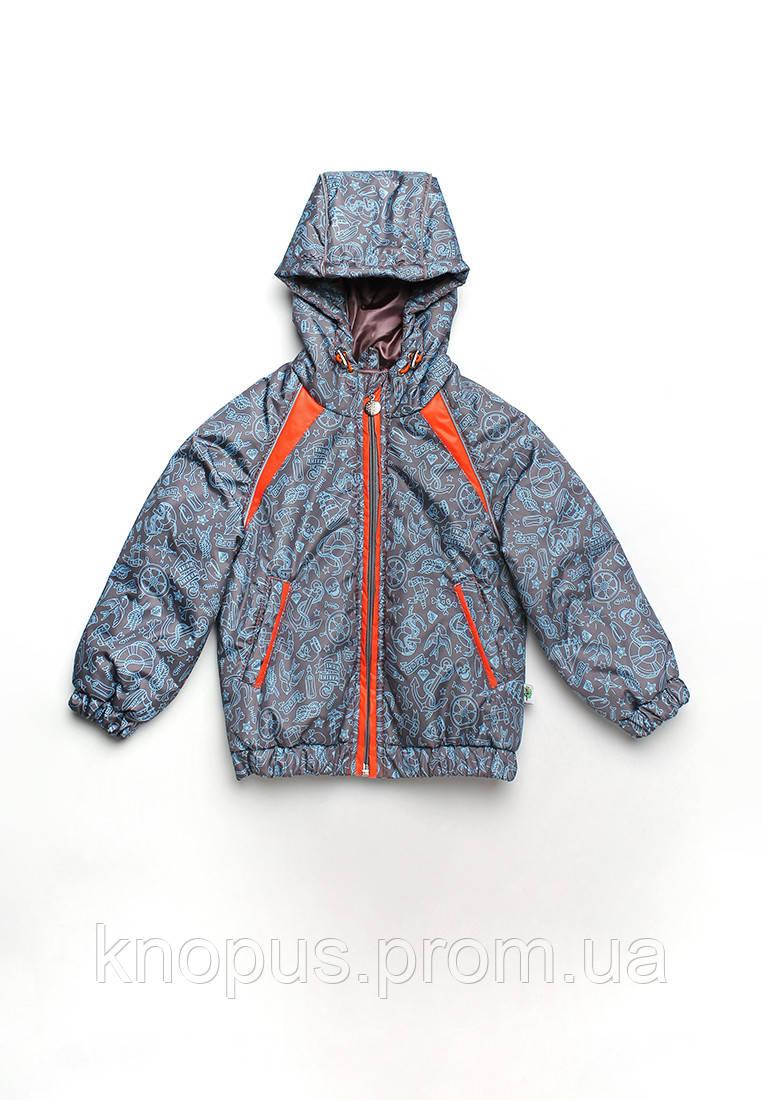 Куртка детская для мальчика море серая, размер 80-98, Модный карапуз