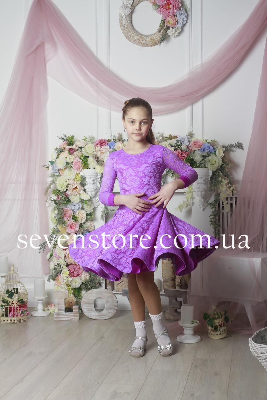 Рейтинговое платье Бейсик для бальных танцев Sevenstore 9101 Сирень