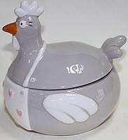 Сахарница керамическая, серая курица