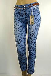 Жіночі голубі джинси з леопардовим принтом Poem