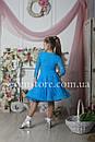 Рейтинговое платье Бейсик для бальных танцев Sevenstore 9101 Голубая бирюза, фото 3