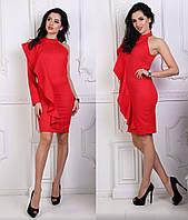 Платье на 1 рукав с воланом, красный