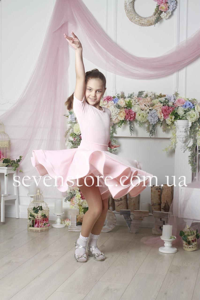 Рейтинговое платье Бейсик для бальных танцев Sevenstore 9117 Нежно розовый