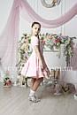 Рейтинговое платье Бейсик для бальных танцев Sevenstore 9117 Нежно розовый, фото 2
