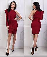 Платье на 1 рукав с воланом, бордовый