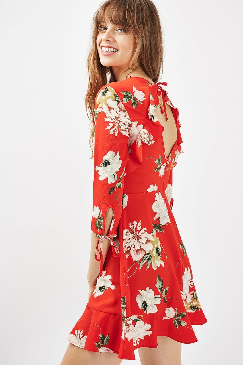 Новое красное платье с воланами и вырезами на спинке Topshop