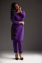 Костюм большого размера фиолет и охра, с аппликацией 50,52,54 размера дизайнерский, фото 3