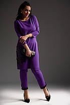 Костюм большого размера фиолет и охра, с аппликацией 50,52,54 размера дизайнерский, фото 2