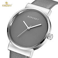 Часы женские наручные кварцевые с серым кожаным ремешком Kingsky серый циферблат
