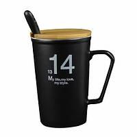 """Оригинальная чашка, купить кружку для чая и кофе Youngpig """"14/13 черная"""" (681)"""