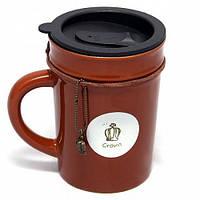 """Оригинальная чашка с крышкой, купить кружку для чая и кофе Youngpig """"Стиль коричневая"""" (676)"""