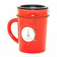 """Оригинальная чашка с крышкой, купить кружку для чая и кофе Youngpig """"Стиль красная"""" (679)"""