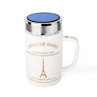 Оригинальная чашка с крышкой, купить кружку для чая и кофе Youngpig «ED Эйфелевая башня» (2136)