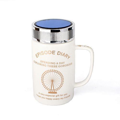Оригинальная чашка с крышкой, купить кружку для чая и кофе Youngpig «ED London Eye» (2137)