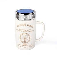 Оригинальная чашка с крышкой, купить кружку для чая и кофе Youngpig «ED London Eye» (2137), фото 1