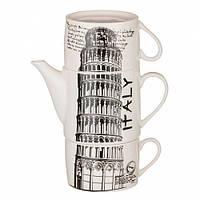 Набор оригинальных чашек и чайник, купить кружки для чая, кофе Youngpig «Италия» (2100)