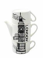 Набор оригинальных чашек и чайник, купить кружки для чая, кофе Youngpig «Лондон» (2098)