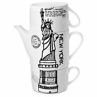 Набор оригинальных чашек и чайник, купить кружки для чая, кофе Youngpig «Нью-Йорк» (2099)