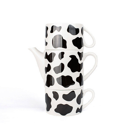 Набор оригинальных чашек и чайник, купить кружки для чая, кофе Youngpig «Буренка» (2093)