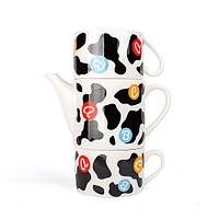Набор оригинальных чашек и чайник, купить кружки для чая, кофе Буренка Youngpig «Буквы» (2095)