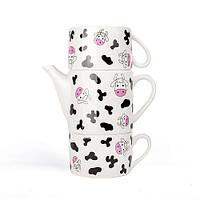 Набор оригинальных чашек и чайник, купить кружки для чая, кофе Буренка Youngpig «Коровка» (2096)