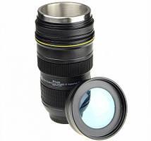 Термокружка, чашка с крышкой, купить кружку для чая и кофе Youngpig  «Фотообъектив Nican» с линзой (405)