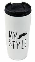 Термокружка, чашка с крышкой, купить кружку для чая и кофе керамическая  Youngpig  «My style» белая (668)