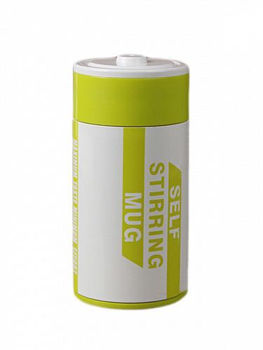 Оригинальная кружка - мешалка – термо, купить кружку, чашку для чая и кофе Youngpig  «Батарейка» зеленая (61)