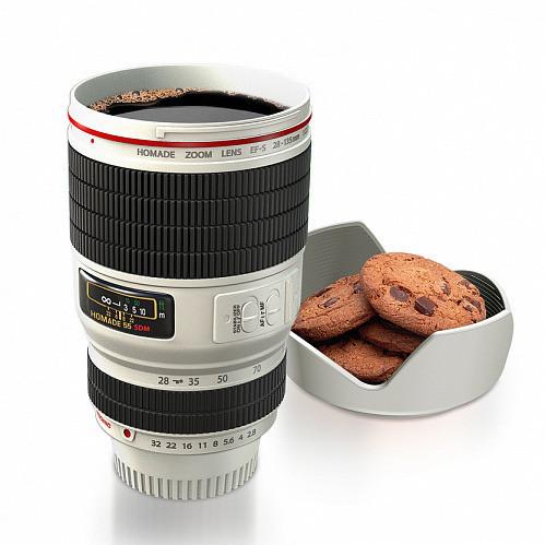 Термокружка, чашка с крышкой, купить кружку для чая и кофе Youngpig  «Фотообъектив Caniam» с подставкой, белый (974)