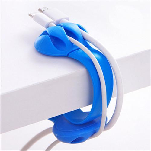 Органайзер держатель проводов для стола, синий