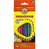 Карандаши цветные Koh-i-noor 12цв Triocolor трёхгранные 3132