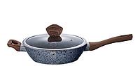 Сковорода 24cм с крышкой алюминиевая с 3-х слойным мраморно-гранитным покрытием, фото 1