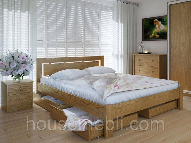 Кровать MeblikOff Осака с ящиками (140*200) дуб