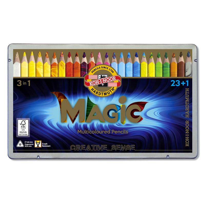 Карандаши цветные Koh-i-noor 24цв Magic метал. кор 340802