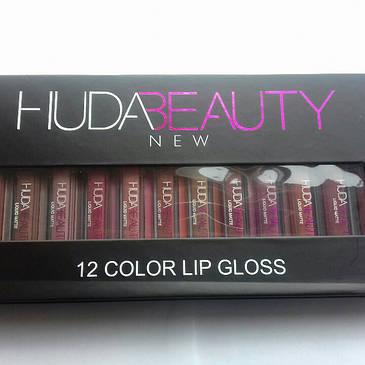 Набор HUDABEAUTY 12 color lip gloss матовые блески для губ, фото 2