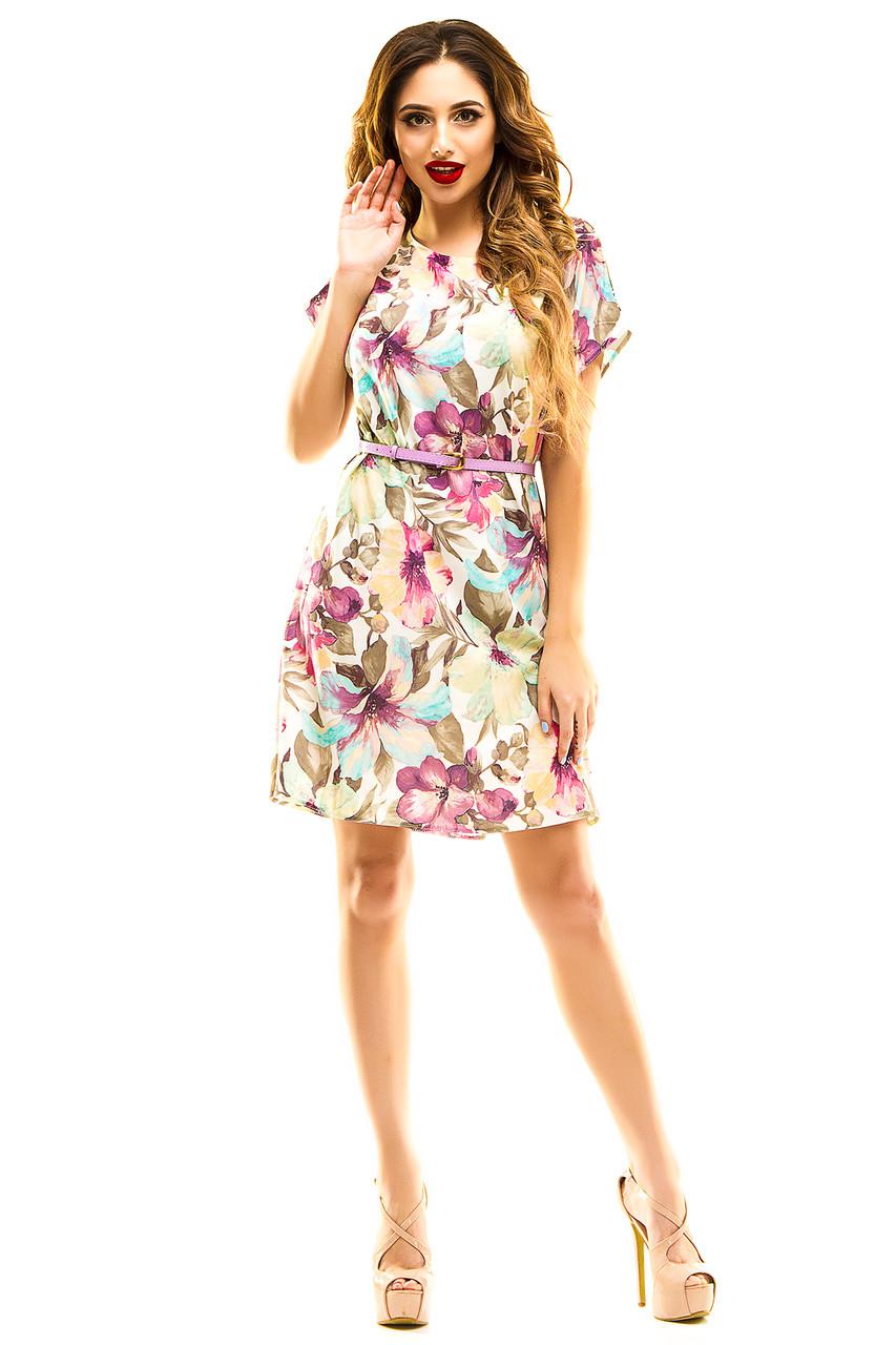 Платье 289  с ремнем сиреневое 50-52