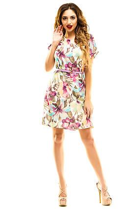 Платье 289  с ремнем сиреневое, фото 2