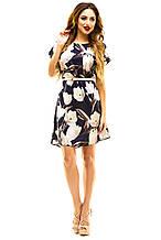 Платье 412  с ремнем темно-синее