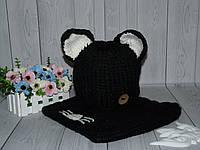 "Теплый комплект шапка+хомут на ог 50-55см.""Kitty"" (черный)"