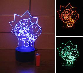 3d-світильник Їжачок (смішарики), 3д-нічник, кілька підсвічувань (на батарейці)
