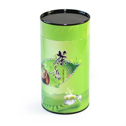 Бумажная банка для сыпучих продуктов Зеленый чай, 100г ( контейнер для чая ), фото 2