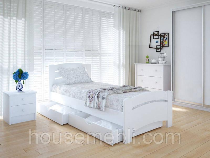 Кровать MeblikOff Грин плюс с ящиками (90*190) ясень