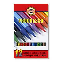 Карандаши цветные Koh-i-noor Progresso 12цв 12шт бездревесные 875601
