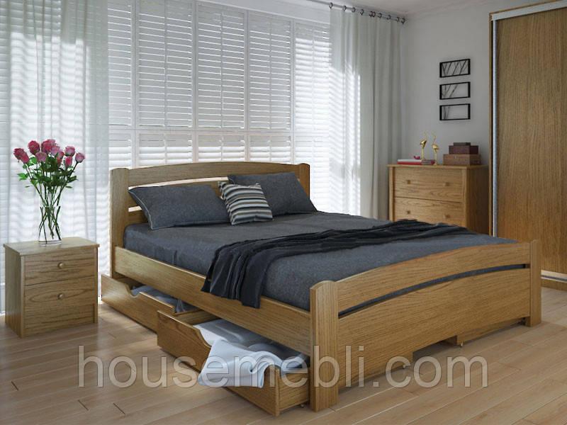 Кровать MeblikOff Грин плюс с ящиками (140*200) дуб