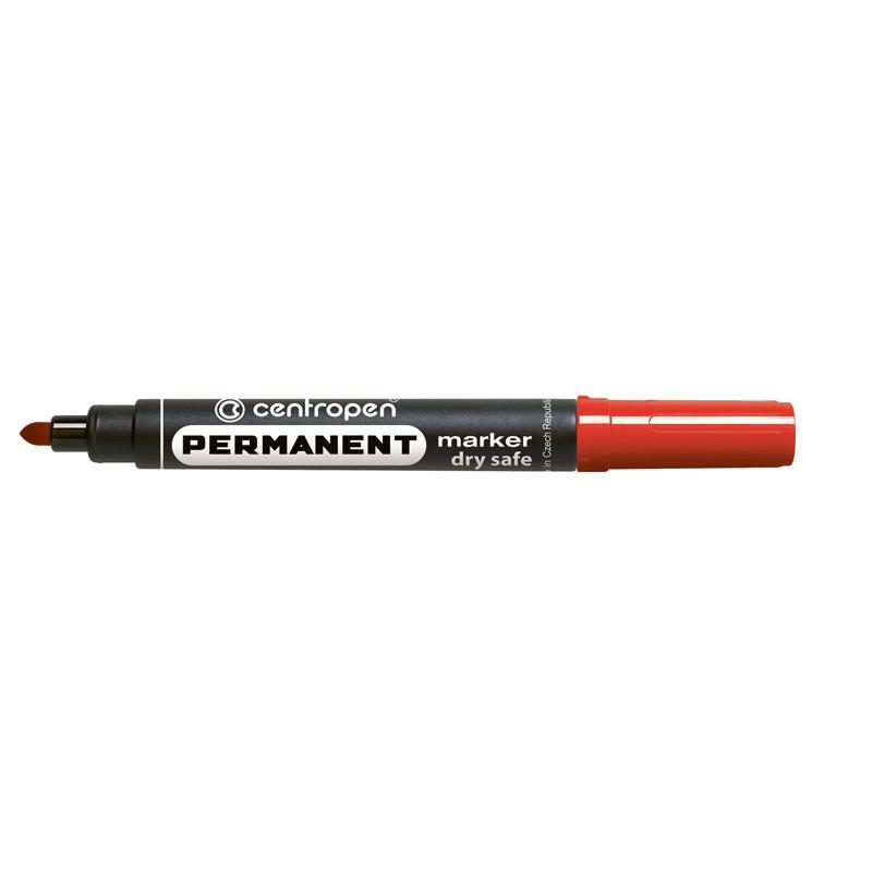 Маркер перманентный Dry Safe  Centropen 2.5 мм круглый красный 8510/02