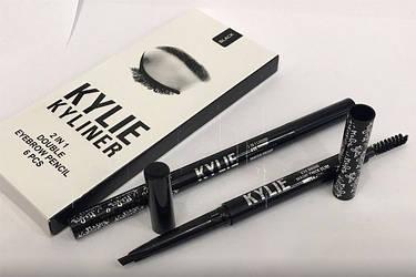 Kylie KYLINER 2in1 double eyebrow pencil Карандаш для бровей Кайли со щёточкой, фото 2