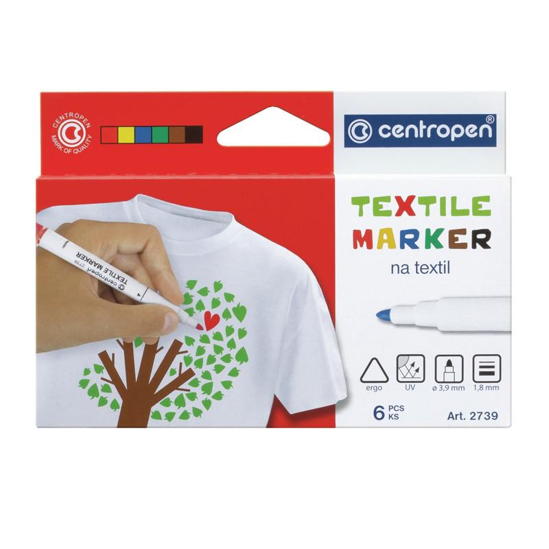 Маркер для ткани Textile Centropen 2 мм набор 6 цветов 27396
