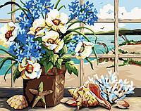 Рисование по номерам MENGLEI Цветы у моря (MG048) 40 х 50 см, фото 1