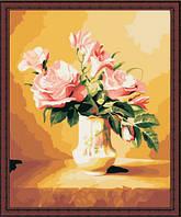 Картина по номерам MENGLEI Розы в вазе светлые (MG093) 40 х 50 см, фото 1